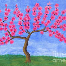 Peach tree in blossom, painting by Irina Afonskaya