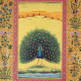 Bhanu Sharma - Peacock Dancing Painting Flower Bird Tree Forest Indian Miniature Painting Watercolor Artwork