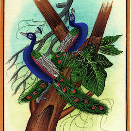 M B Sharma - Peacock painting tree forest miniature Painting artist nature paper Artwork India.