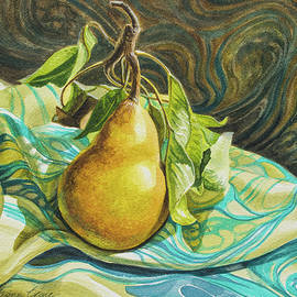 Fiona Craig - Pear on Marbled Silk