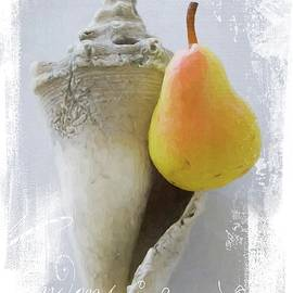 Pear Perched On Old Seashell by Alice Gipson