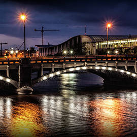 Pearl Street Bridge at Night over the Grand River by Randall Nyhof