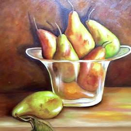 Pears In Glass Bowl.  Sold by Susan Dehlinger