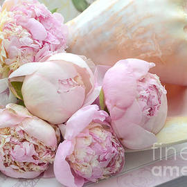Shabby Chic Pink Peonies  - Dreamy Pink Yellow Peonies In Beach Shell - Dreamy Peony Decor by Kathy Fornal
