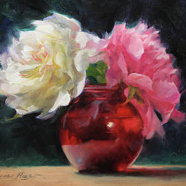 Peonies with Red Vase - Anna Rose Bain