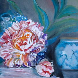 Peony and chinese Vase by Jenny Lee