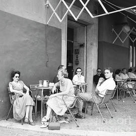 People at a street cafe in Rome, 1955 - The Harrington Collection