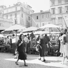 People at an open air market in Rome, 1955 - The Harrington Collection