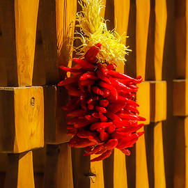Peppers Hanging On Wooden Gate - Garry Gay