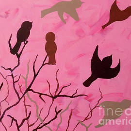 Perched in Pink by Jilian Cramb - AMothersFineArt