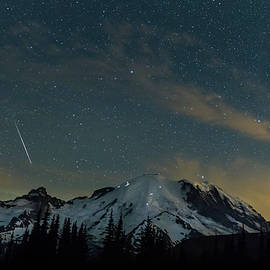 Perseids Over Mt Rainier by Angie Vogel