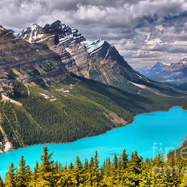 Peyto Lake Between The Peaks by Adam Jewell