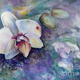 Phalaenopsis Orchid With Hyacinth Background by Ryn Shell