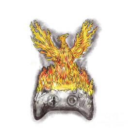 Aloysius Patrimonio - Phoenix Rising Over Burning Game Controller Tattoo