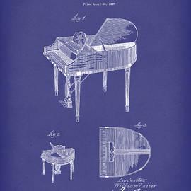 Piano 1937 Patent Art Blue by Prior Art Design
