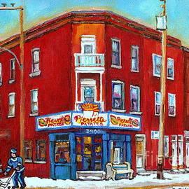 Pierrette Patates Verdun Montreal Street Hockey Scene Winter In The City Canadian Art Carole Spandau by Carole Spandau