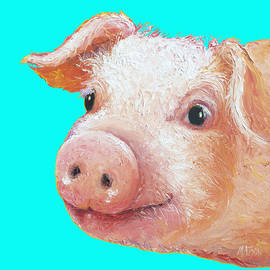 Pig art for kitchen or nursery by Jan Matson
