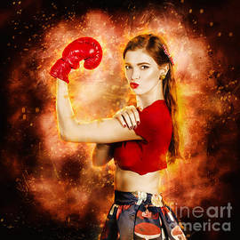 Pin Up Boxing Girl  by Jorgo Photography - Wall Art Gallery