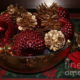 Pinecones in Red and Gold by Dora Sofia Caputo