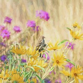 Jennie Marie Schell - Pine Siskin Bird in the Garden