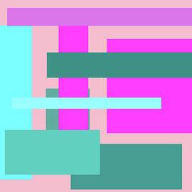 Kathy K McClellan - Pink And Blue Blocks Abstract