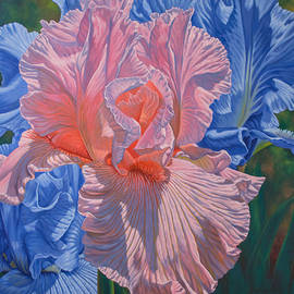 Fiona Craig - Floralscape 1 - Pink and Blue Irises