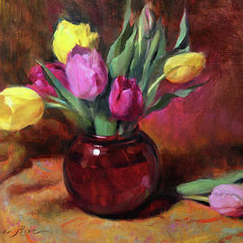 Anna Rose Bain - Pink and Yellow Tulips