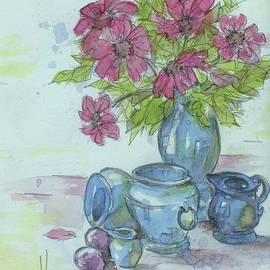 PJ Lewis - Pink Flower With Blue Pottery