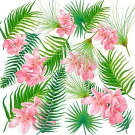 Pink Frangipani and Fern Leaves by Jan Matson