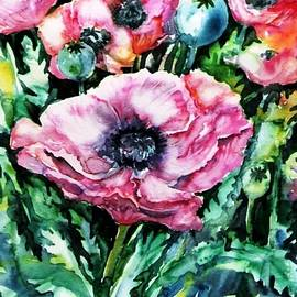 Pink Garden Poppies  by Trudi Doyle
