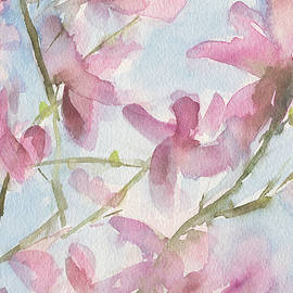 Pink Magnolias Blue Sky by Beverly Brown