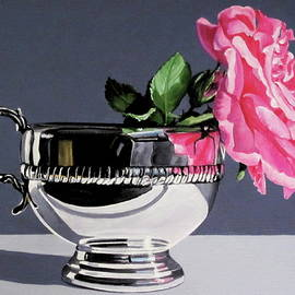 Lillian Bell - Pink rose in silver