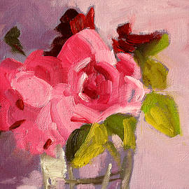 Pink Roses 3 Still Life Painting by Nancy Merkle