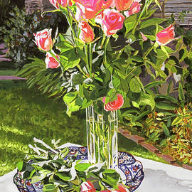 David Lloyd Glover -  Pink Roses In Glass