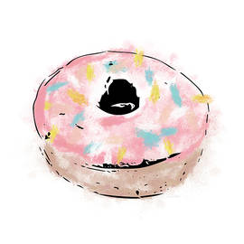 Pink Sprinkle Donut- Art by Linda Woods - Linda Woods
