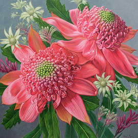 Fiona Craig - Pink Waratahs, Flannel Flowers and Kangaroo Paws