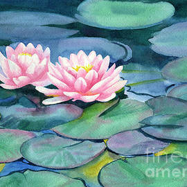 Pink Water Lilies with Colorful Pads - Sharon Freeman