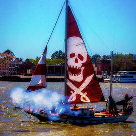Pirate Ship With Red Skull Sail - Garry Gay