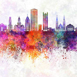 Pablo Romero - Pittsburgh V2 skyline in watercolor background