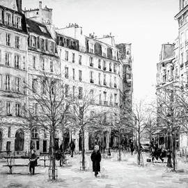 Place Dauphine Paris BW Grunge by Joan Carroll