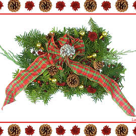 Plaid Bow With Christmas Regalia by Lise Winne