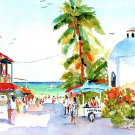 Playa Del Carmen Shops And Church by Carlin Blahnik CarlinArtWatercolor