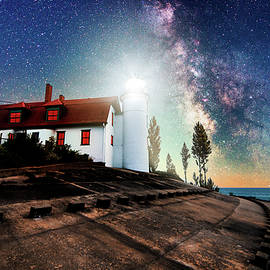 Point Betsie Lighthouse Milky Way by Dustin Goodspeed