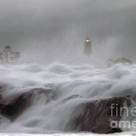 Point Judith Lighthouse Storm by Jim Beckwith
