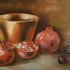 M B - Pomegranates, plums and copper bowl