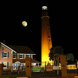 Ponce Inlet Lighthouse at Night by Roger Epps