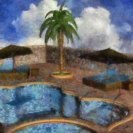Pool With Palm Tree by Judi Suni Hall