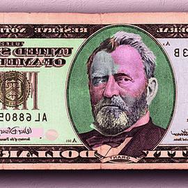 Crisp New 50 Dollar Bill Pink Orange Mirror Image by Tony Rubino