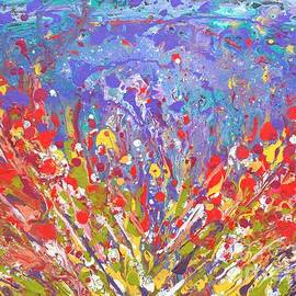 Poppies Abstract Meadow Painting by Manjiri Kanvinde