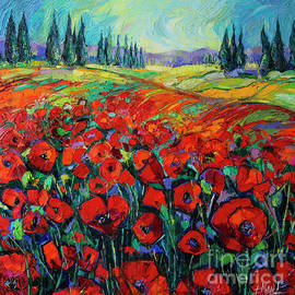 Mona Edulesco - POPPIES AND CYPRESSES - modern impressionist palette knives oil painting